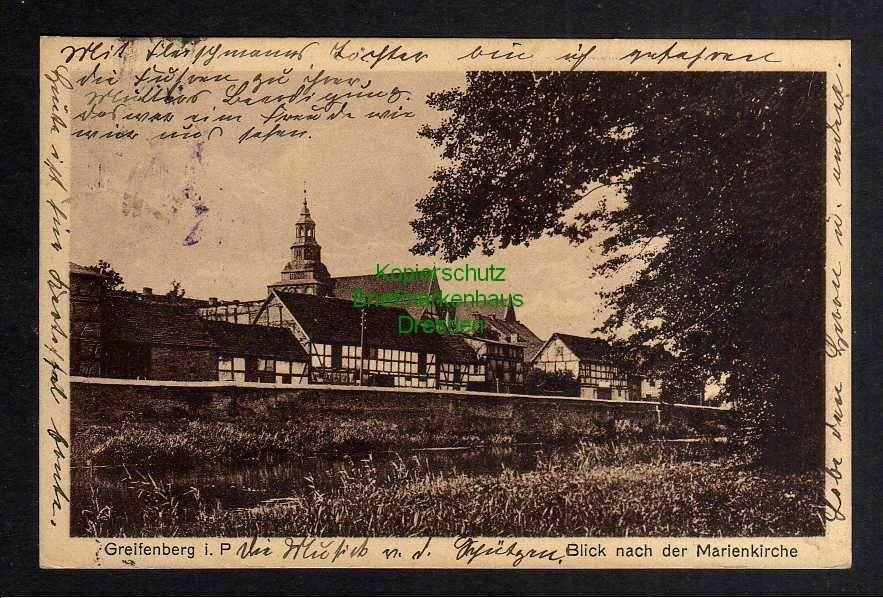 Ansichtskarte Greifenberg P. Blick nach der Marienkirche 1926