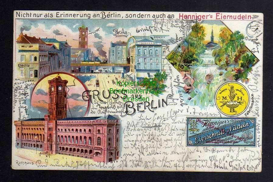 Ansichtskarte Berlin 1900 Litho Electra Rotes rathaus Henningers Eiernudeln Reklame