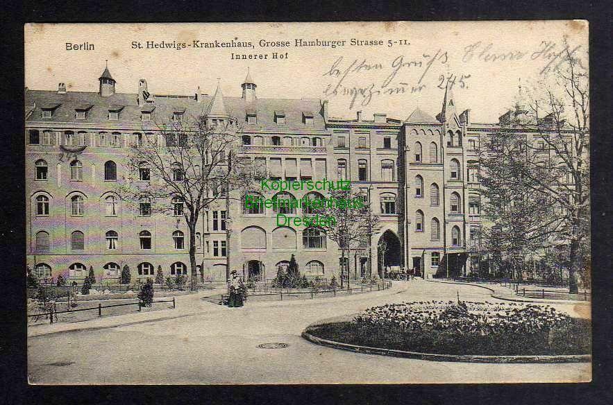 Ansichtskarte Berlin 1909 St. Hedwigs Krankenhaus Grosse Hamburger Str. 5 - 11 Hof