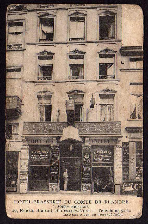 Ansichtskarte Bruxelles Nord Rue du Brabant Hotel Brasserie um 1918