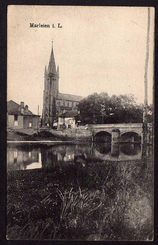 Ansichtskarte Marleien Marly (Moselle) 1917 Feldpost Kirche Brücke