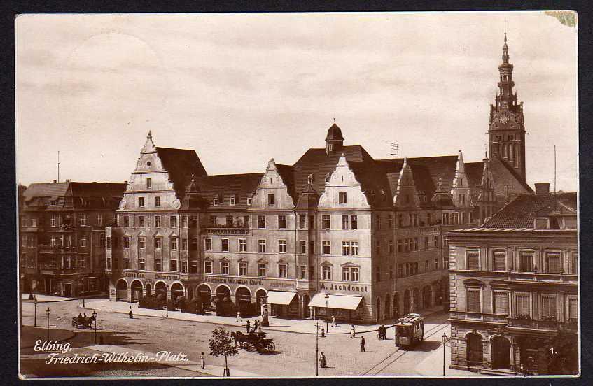 Ansichtskarte Elbing Friedrich Wilhelm Platz Casino Bar 1928