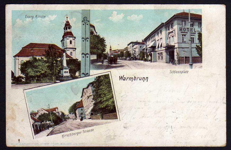 Ansichtskarte Warmbrunn Riesengebirge Schlossplatz Kirche 1902 Hirschberger Strasse