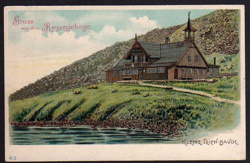 Ansichtskarte Riesengebirge Kleine Teich Baude Litho um 1905