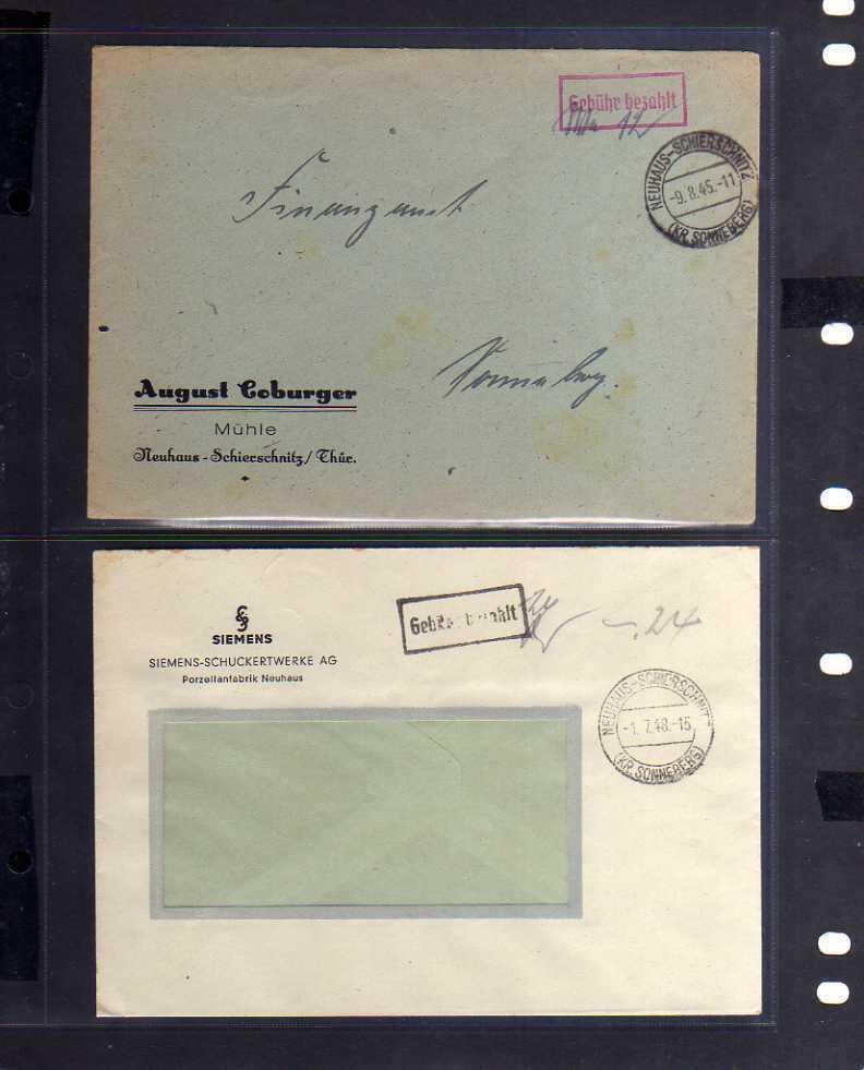 B616 2x SBZ Brief Gebühr bezahlt 1945 Neuhaus Schierschnitz Kr Sonneberg Siemens