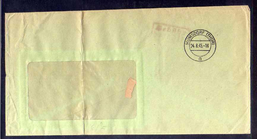 B604 SBZ Brief Gebühr bezahlt 1945 Mumsdorf Thür. Abs. Braunkohlenwerk Phönix