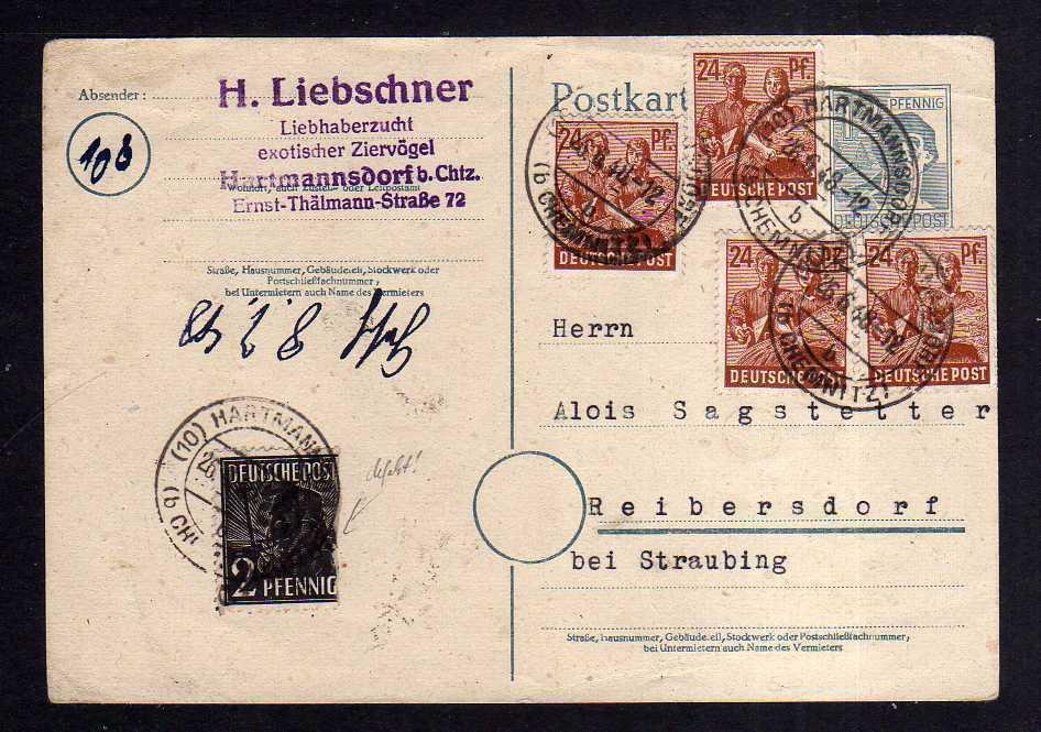 h1248 Karte Handstempel Bezirk 27 Hartmannsdorf 2 Pfg. + zehnfach 26.6.48