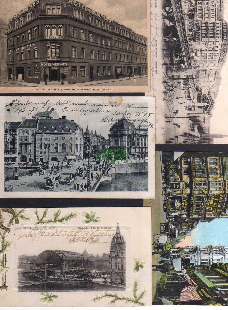 5 Ansichtskarte Berlin Hotel Hermes Schiffbauerdamm 4 1929 Bahnhof Friedrichstraße