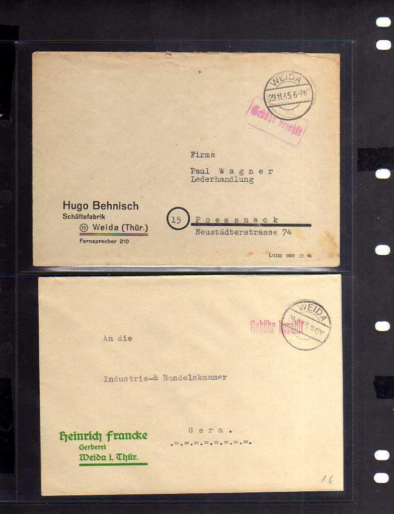 B821 2x SBZ Brief Gebühr bezahlt 1945 Weida Thür. Schäftefabrik Behnisch Gerbere