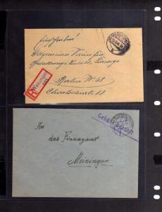 B820 2x SBZ Brief Gebühr bezahlt 1945 Wasungen Thür. Einschreiben nach Berlin un