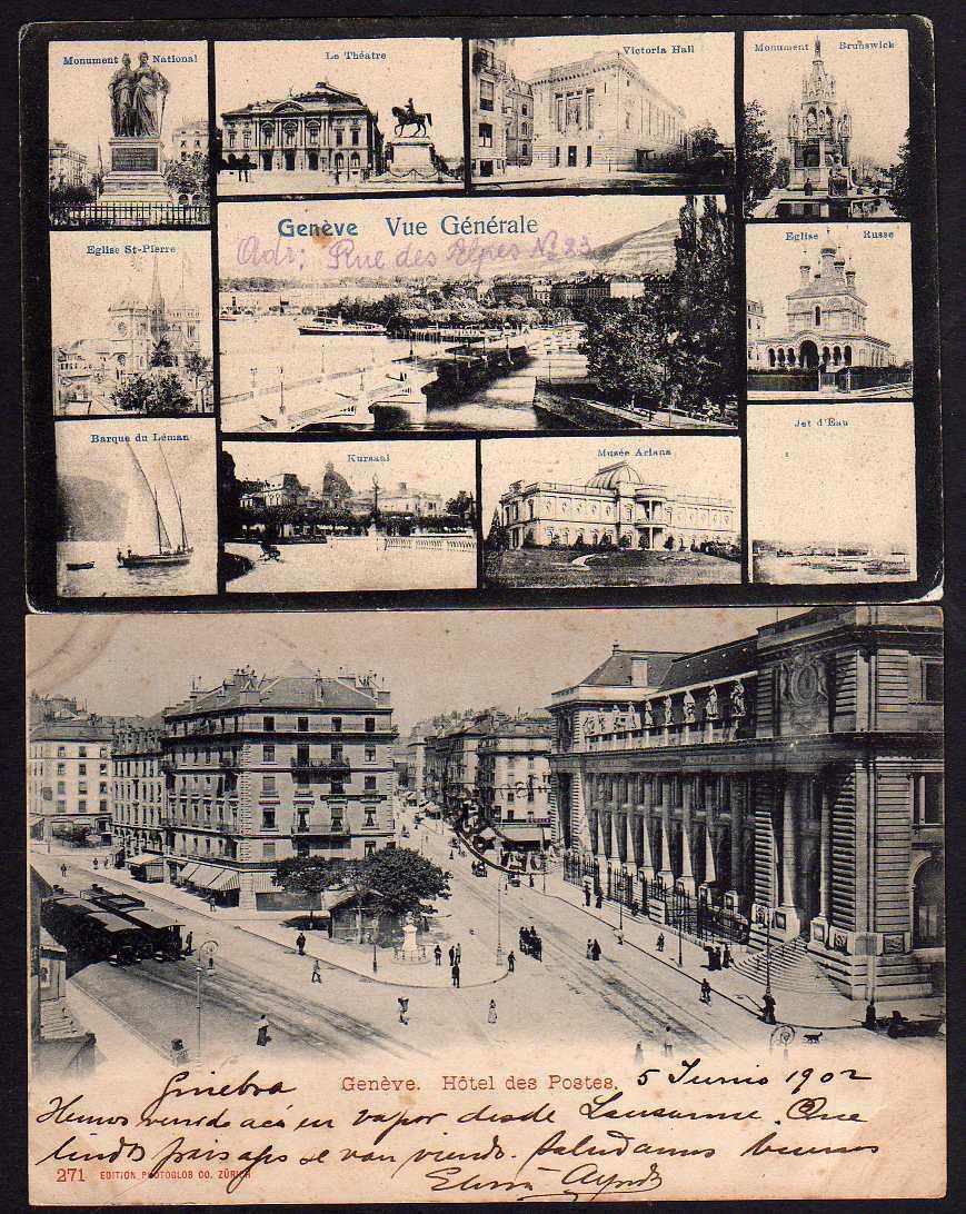 5 Ansichtskarte Geneve Genf Bureau International du Travail 1931 1902 Hotel d Postes