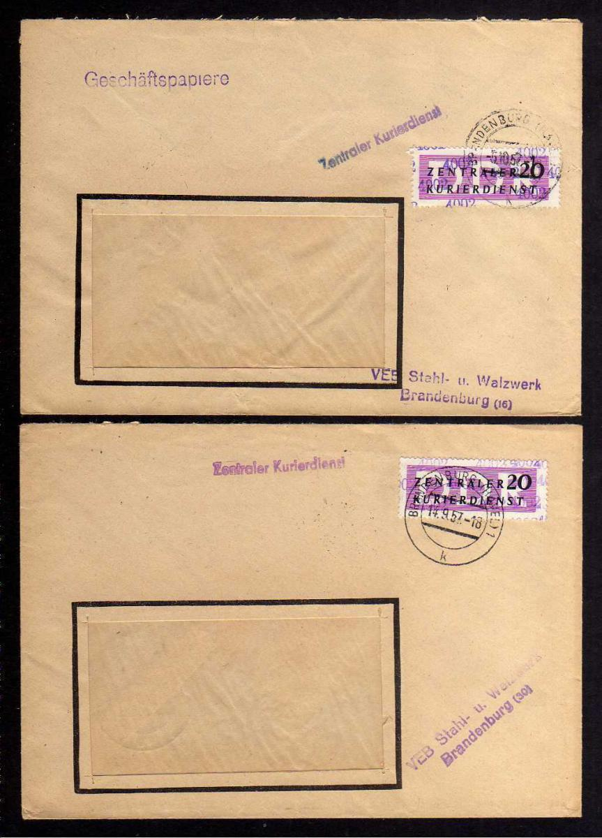 B1664 DDR ZKD 15 Kontrollnummer 4002 2x Brief VEB Stahl- u. Walzwerk Brandenburg