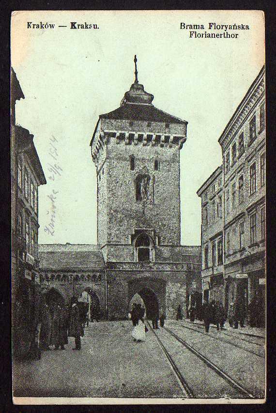 Ansichtskarte Krakau Krakow Florianertor Landsturm Marschbataillon No. 6