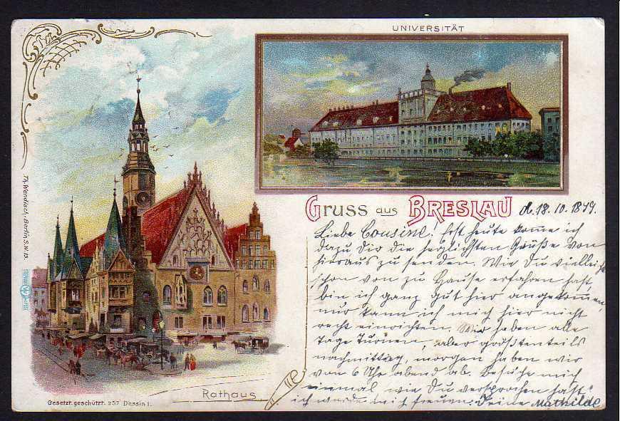 Ansichtskarte Breslau Schlesien 1899 Litho Universität Rathaus