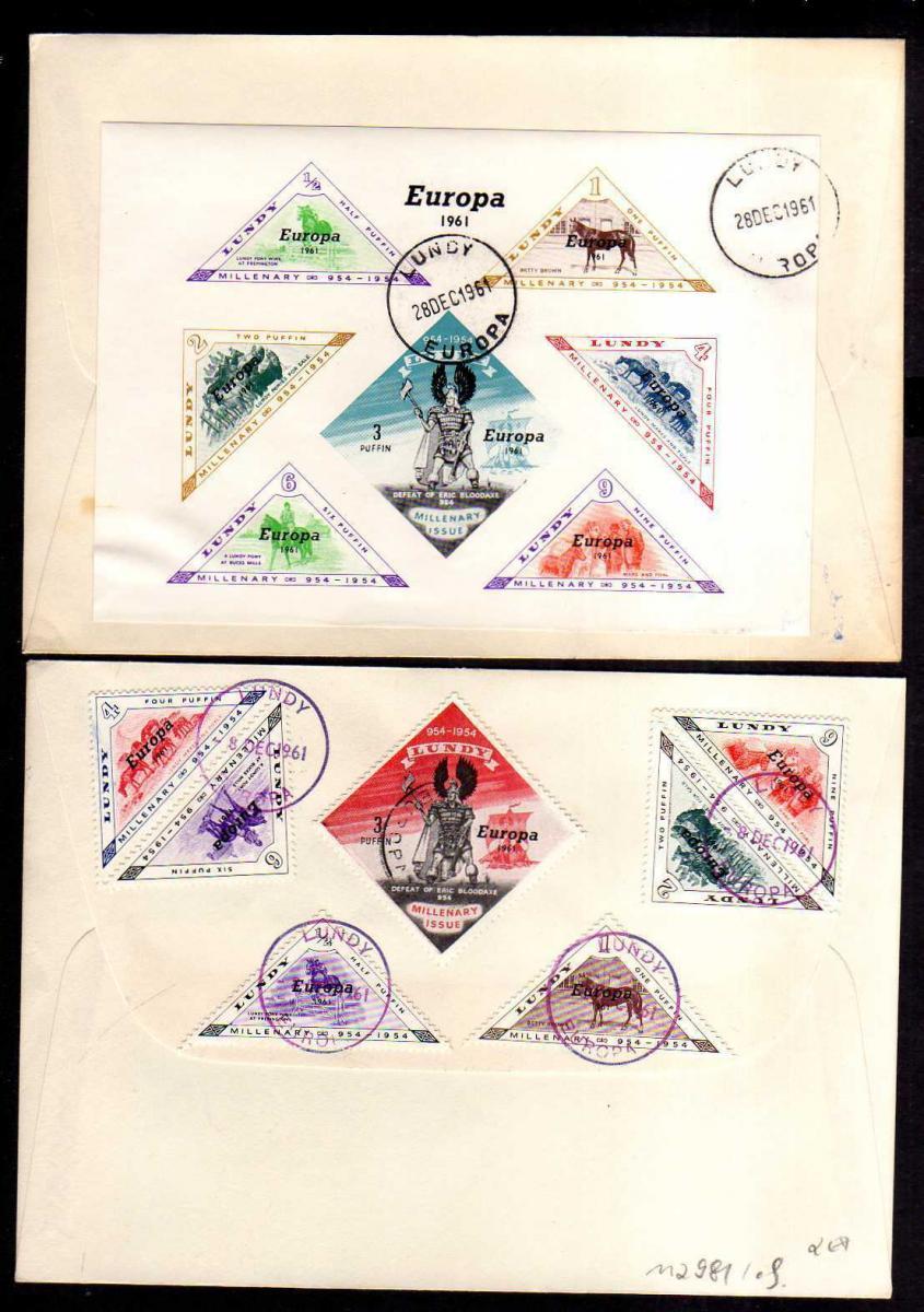 Großbritannien Lundy CEPT 1961 2 Briefe Marken + Block