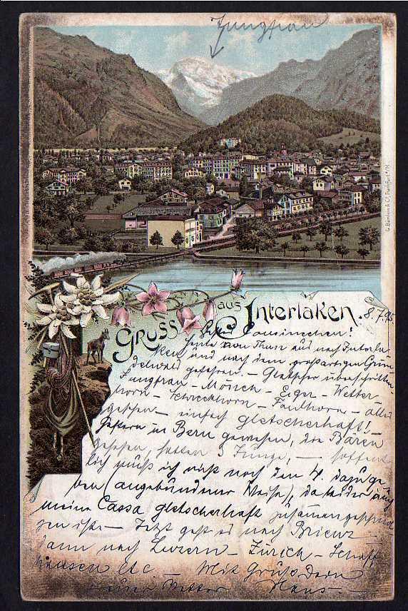 Ansichtskarte Interlaken 1895 Kanton Bern Litho Edelweiss Panorama