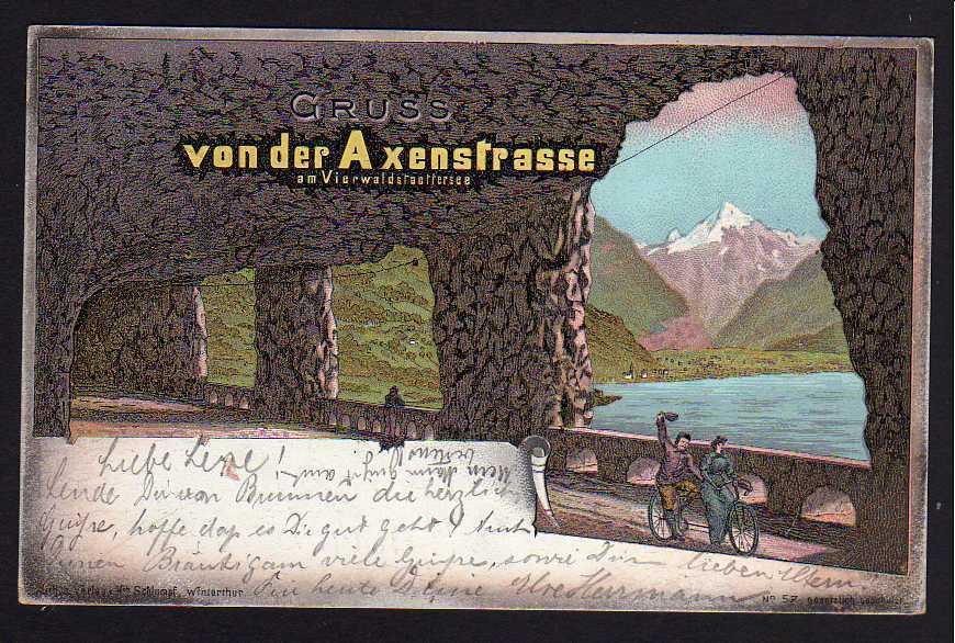 Ansichtskarte Axenstrasse am Vierwaldstädtersee Litho Brunnen 1897