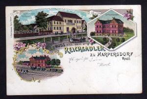 Ansichtskarte Harpersdorf Kraftsdorf Litho 1902 Gasthof zum Reichsadler Bahnhof Gene