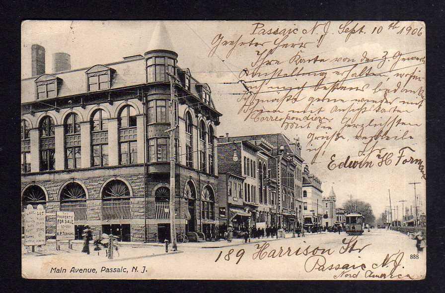 Ansichtskarte Passaic 1906 Main Avenue Property for Sale Straßenbahn 0
