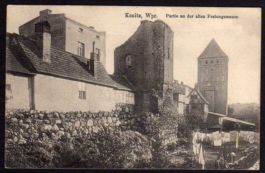 Ansichtskarte Konitz Wpr. Partie a.d. alten Festungsmauer 1916 Feldpost Chojnice