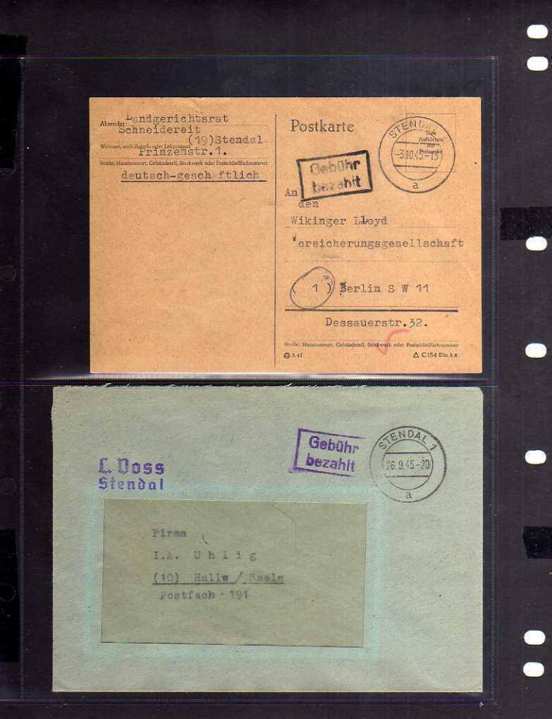 B775 10x SBZ Brief Karte Gebühr bezahlt 1945 Stendal Finanzamt Hoheitszeichen au