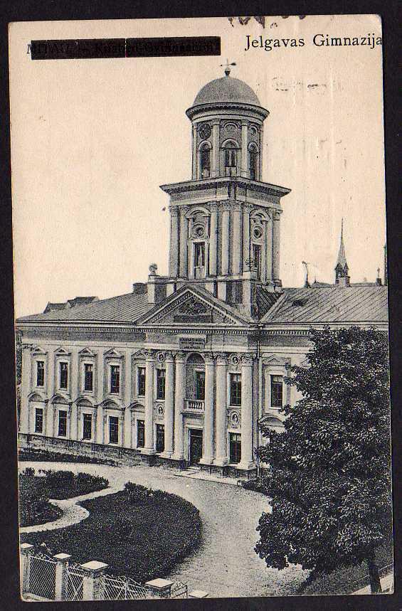 Ansichtskarte Jelgavas Gimmnazija 1923 Mitau schw überdruckt