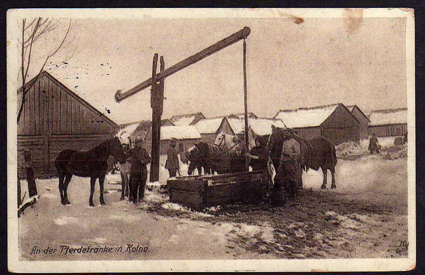Ansichtskarte Kolno Pferdetränke 1916 Ostpreußenhilfe