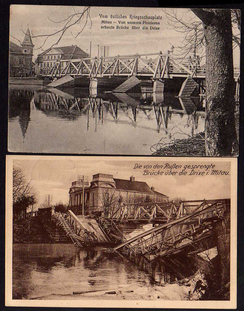 2 Ansichtskarte Mitau Die v.d. Russen gesprengte Brücke Drixe Jelgava Lettland 1916