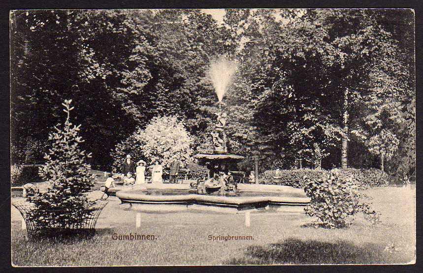 Ansichtskarte Gumbinnen Gussew Springbrunnen 1915