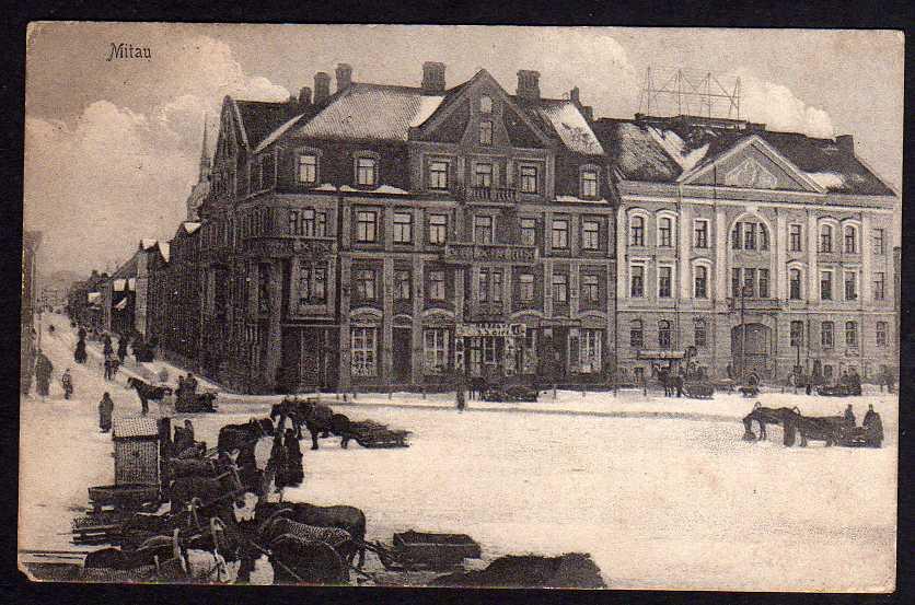 Ansichtskarte Mitau 1917 Jelgava Lettland Winter Aus militärischen Gründen verzögert