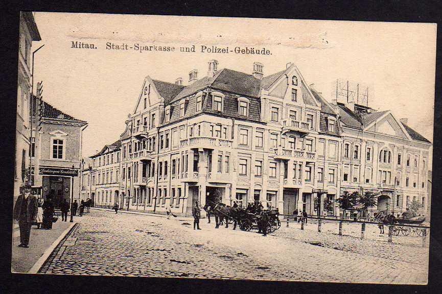 Ansichtskarte Mitau Stadt Sparkasse u. Polizei Gebäude Feldpost 1916