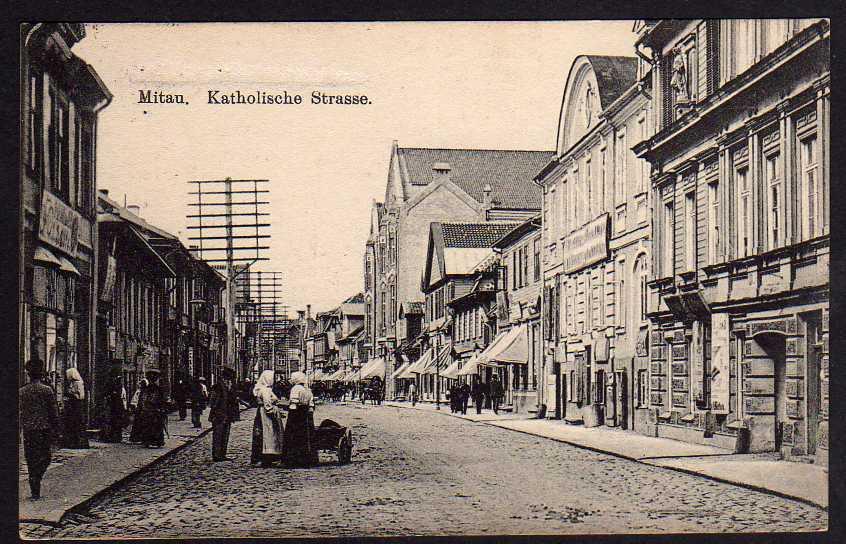 Ansichtskarte Mitau Jelgava 1916 Katholische Straße Feldpost Deutsches Soldatenheim