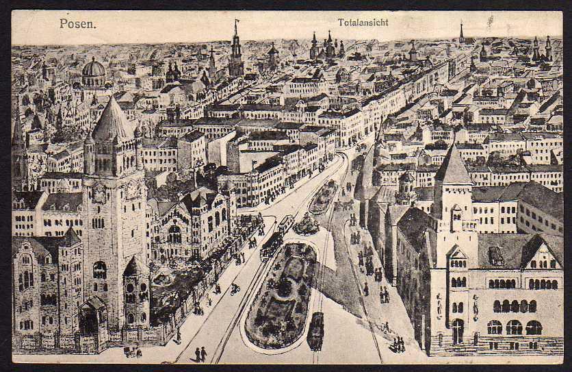 Ansichtskarte Posen Totalansicht 1915 Feldpost Künstlerkarte