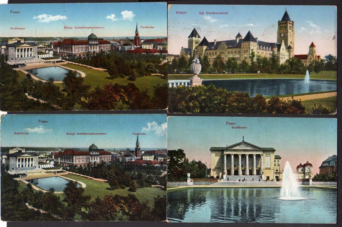 8 Ansichtskarte Posen Kgl. Residenzschloß Paulikirche 1915 1916 Stadttheater