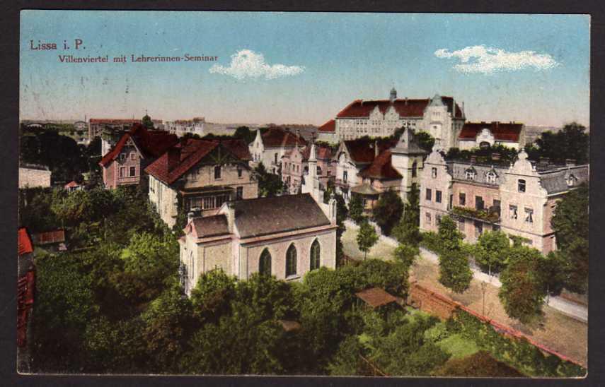 Ansichtskarte Lissa i.P. Leszno Villenviertel mit Seminar Feldpost 1915