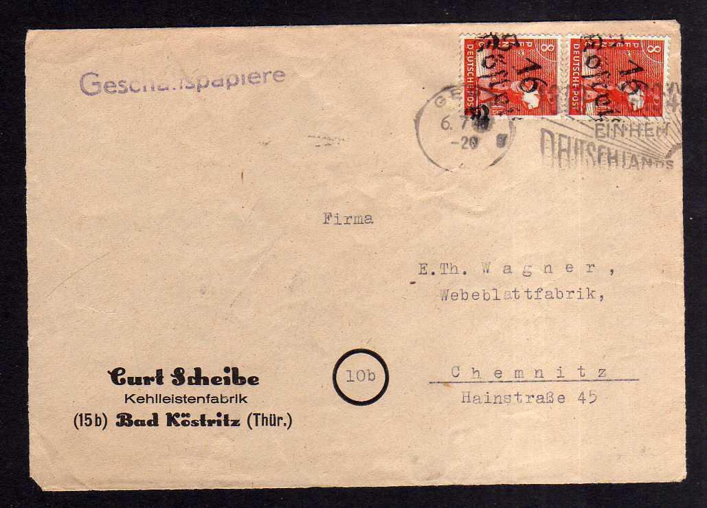 h1003 Briefvorderseite Handstempel Bezirk 16 Köstritz 6.7.48 Kehlleistenfabrik F
