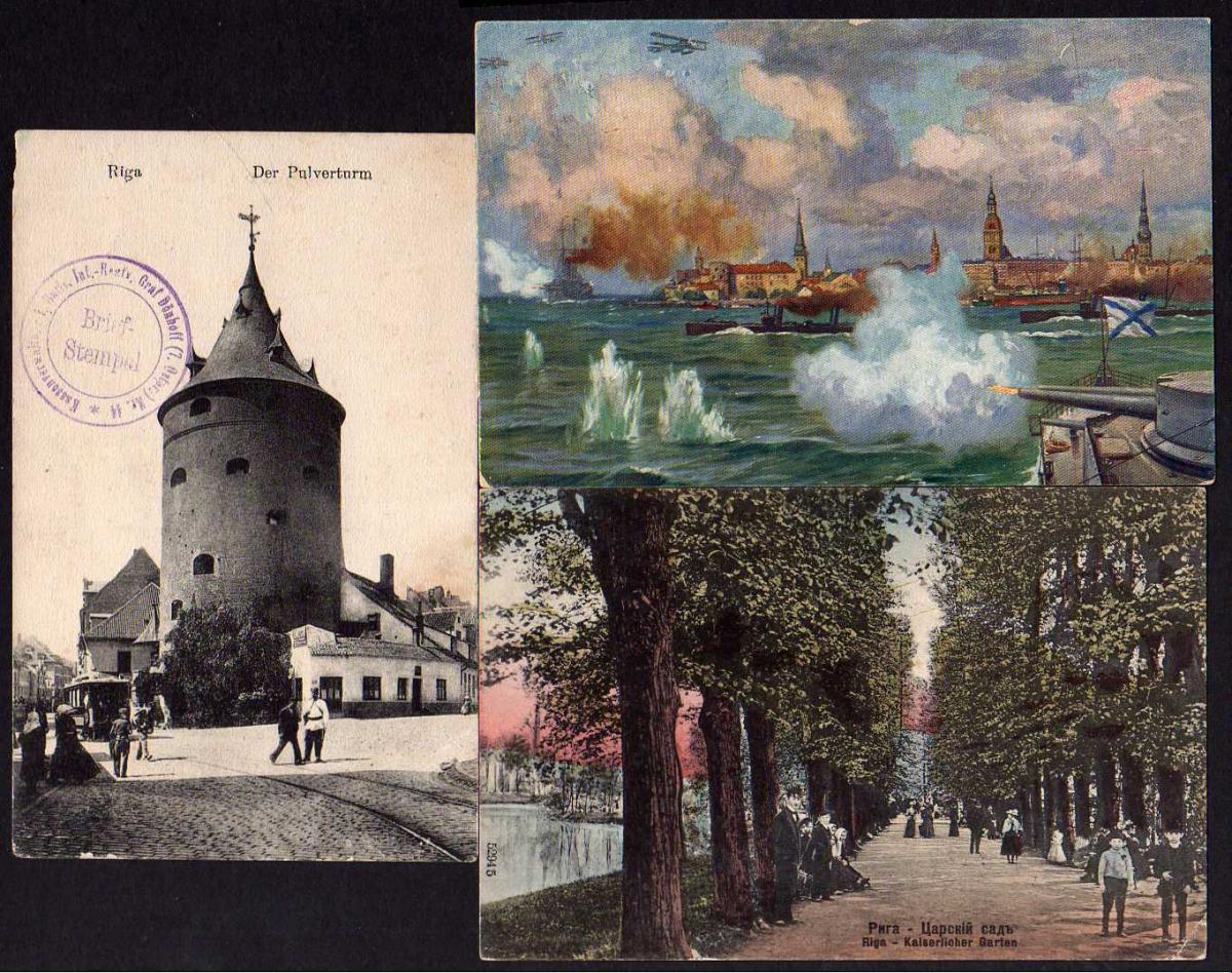 3 Ansichtskarte Riga Pulverturm Kaiserlicher Garten Hafen 1916 1918 Feldpost