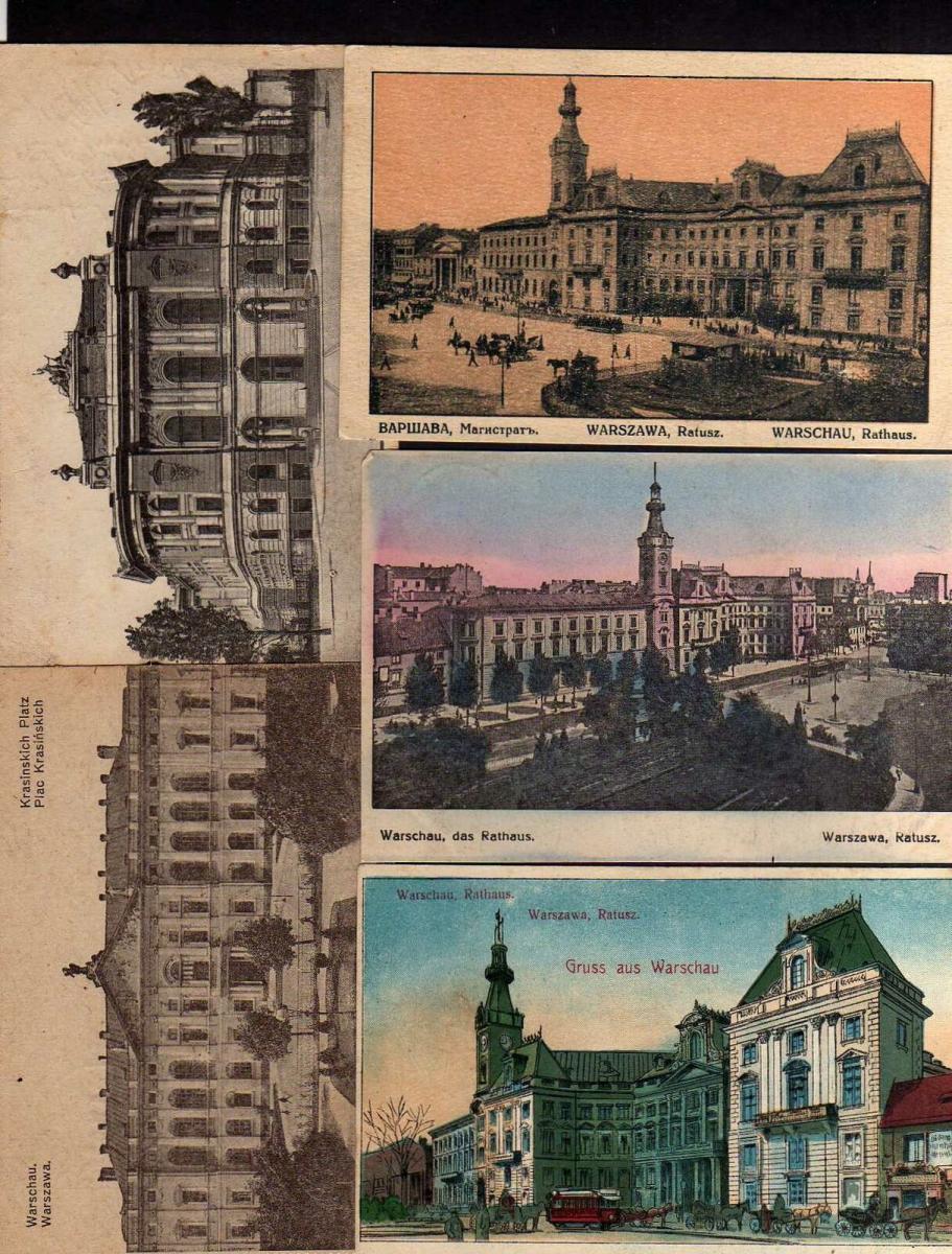 5 Ansichtskarte Warschau Rathaus 1916 Polytechnikum Feldpost
