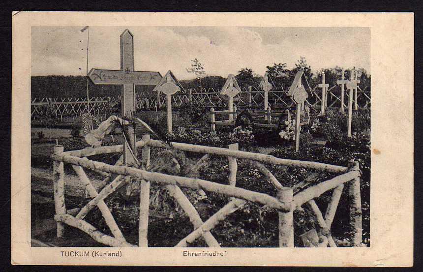 Ansichtskarte Tuckum Tukums Kurland Ehrenfriedhof 1916