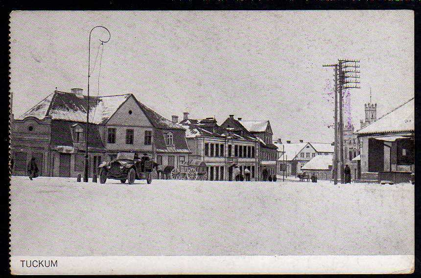 Ansichtskarte Tuckum Tukums Kurland Markt im Winter 1917 K.u.K. Etappenmagazin