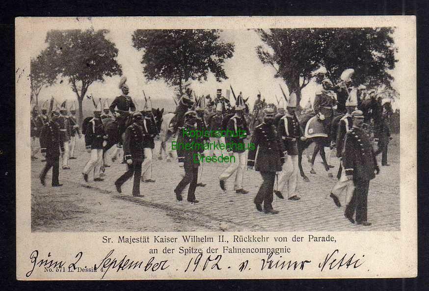 Ansichtskarte Sr. Majestät Kaiser Wilhelm II. Rückkehr von der Parade Berlin 1902