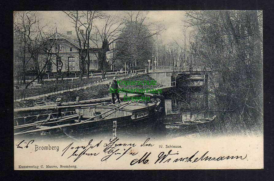 Ansichtskarte Bromberg 1903 IV. Schleuse Schiff Lastkahn Bydgoszcz Wpr.
