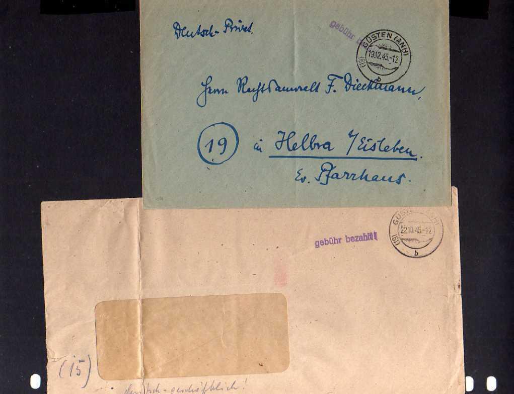 B441 2x SBZ Brief Gebühr bezahlt 1948 Güsten Anh. Maschinen Lueger