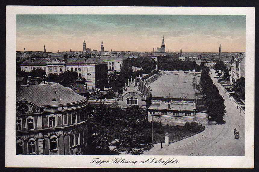 Ansichtskarte Opava Troppau Schlossring Eislaufplatz um 1925 Mährisch-Schlesien