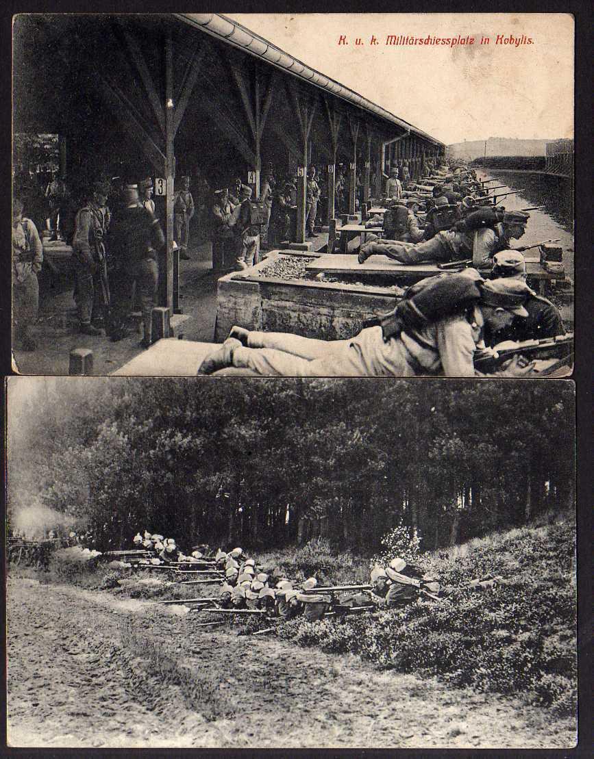 2 Ansichtskarte K.u.k. Militärschiessplatz Kobylis Schießstand Soldaten Gewehr Zensur
