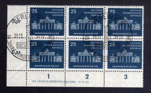 DDR 666 Brandenburger Tor 1958 DV gestempelt SST ungefalten nicht angetrennt