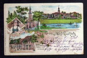 Ansichtskarte Wendisch Buchholz 1901 Litho Tuch- und Schnittwaren Handlung W. Weege
