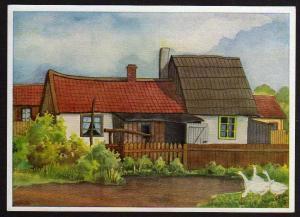 Ansichtskarte Memelland Milischken Bauernhäuser Nolken Künstlerkarte ungelaufen 1940