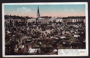 Ansichtskarte Stryj Oblast Lwiw Ukraine Ringplatz während des Marktes 1918