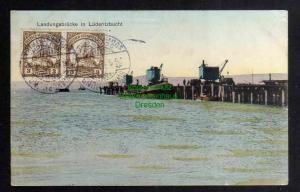 Ansichtskarte Deutsch Südwestafrika DSW Landungsbrücke in Lüderitzbucht Ladekräne